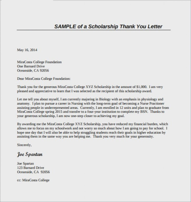 Sample of Scholarship Thank You Letter