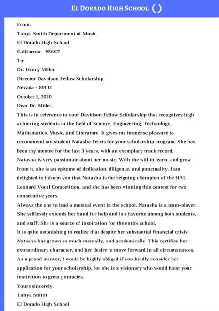 sample recommendation letter for college scholarships