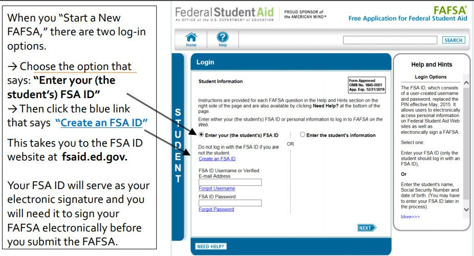 Federal Student Aid Login Page